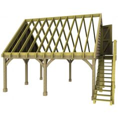Double Carport Room in Roof Kit 45 Gable Traditional Style Green Oak Douglas Fir Glulam