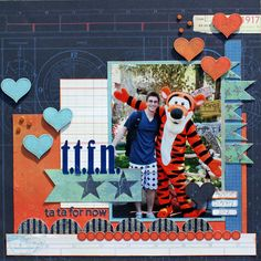 """Disney scrapbook page : """"TTFN tata for now.""""  Would be cute with different paper for valentines day."""