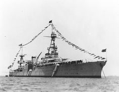 """USS Houston at Tsingtao, China, on 4 July dressed overall for the holiday. She is flying the four-star flag of Admiral Montgomery M. Taylor, Commander in Chief Asiatic Fleet, at her. Royal Navy, Us Navy, Uss Houston, Uss Texas, Heavy Cruiser, United States Navy, Navy Ships, Pearl Harbor, Military Life"