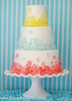 Sweet Shoppe Candy Party, Rock Candy Cake by Kara's Party Ideas  Click through for more pictures of an adorable party!