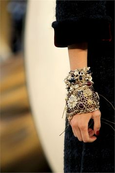 chanel   wouldn't wear this, but it makes me want to rock a mixed-media collage