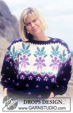 """DROPS 23-11 - DROPS jumper with pattern borders in """"Karisma Superwash"""". Size S – L - Free pattern by DROPS Design"""