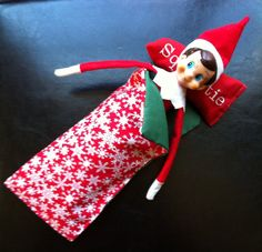 Elf on the Shelf has a nice warm sleeping bag....Props - Where to Find Them