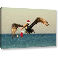 Lindsey Janich Christmas Pelican1 inch Gallery-Wrapped Canvas, Size: 24 x 36, White