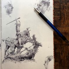 #drawanyway - statue of St. George slaying the dragon, from Stockholm's Gamla Stan, #ballpointpen on paper