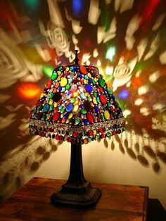 Crystal lamp shadetake fabric off old lampshade and string stained glass lamp by lorisdawn designs greentooth Choice Image