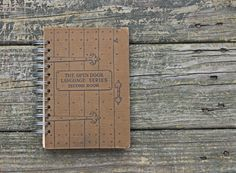 blank book journal - the Open Door Language Series - old textbook journal gift under 25