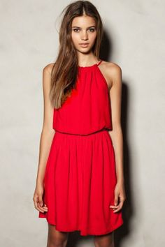 Hot Sale Red Sleeveless Casual Summer Dress