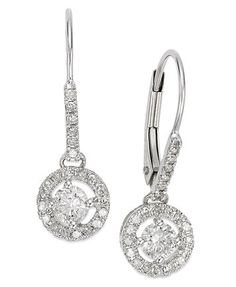 Diamond Round Drop Earrings in 14k White Gold (1/2 ct. t.w.) | macys.com