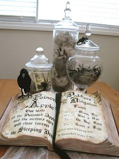 Create a Witch's Spell Book from an old dictionary (or large book from thrift)...don't forget the raven! tiffcreativeoutlet.blogspot.com