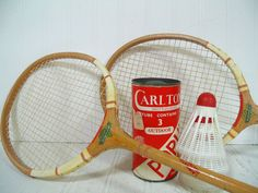 Retro Wooden Badminton Racquets Duo  Vintage Mid by DivineOrders