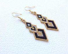Miyuki Delica beads Earrings Iridescent White Gold and