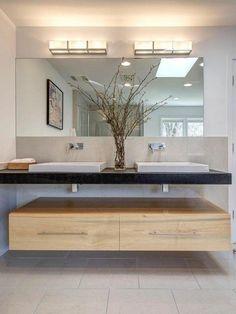 vasque à poser rectangulaire, plan salle de bain double vasque