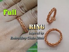 Knot ring from copper wire inspired by Embroidery Chain Stitch - full ve...