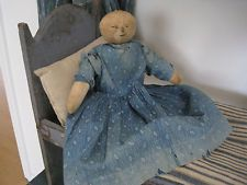 19th Century Cloth Rag Doll Early Blue White Calico Dress American Primitive