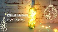 Cómo hacer una botella luminosa con decoupage para Navidad - http://www.manualidadeson.com/una-botella-luminosa-decoupage-navidad.html