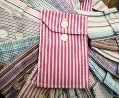 Turn old button down sleeves into pockets by sewing the sides together.