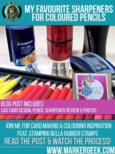 Tips and links to the best pencil sharpeners for coloured pencils! PLUS handmade card inspiration featuring a pencil coloured Stamping Bella rubber stamp image. Copics, Prismacolor, Best Pencil Sharpener, Coloring Book Art, Colouring, Polychromos, Coloured Pencils, Mechanical Pencils, Distress Ink