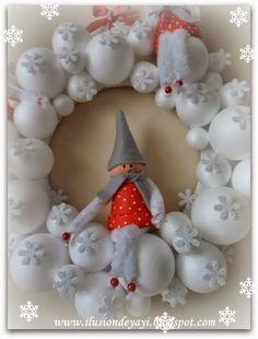 Corona de bolas de espuma con copos de nieve y los duendes de hadas (3) (478x628, 122Kb)