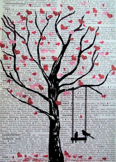 * tree silhouette with birds on swing & heart leaves on the printed page