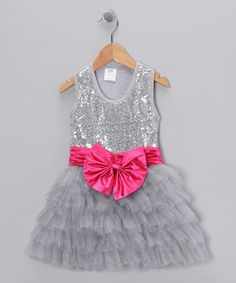 Take a look at this Silver Sequin Bow Tutu Dress - Toddler & Girls by Bébé Oh La La on #zulily today!