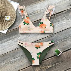 Floral Print Ruffle Bikini Set