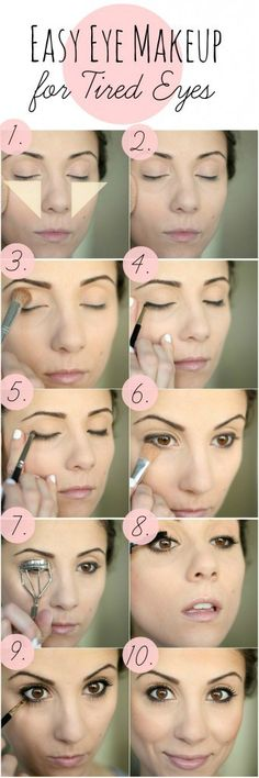 Eye Makeup for Tired Eyes - yellow concealer in upside down triangle to cover dark circles, repeat with regular concealer, setting powder, skin tone shadow all over lid up to brow, gel liner around upper and lower lash line, set with matching shadow, set with powder, then curl lashes and apply mascara