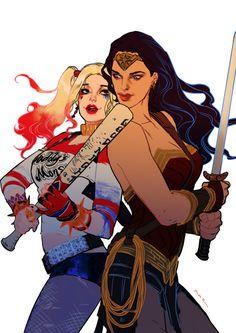 Wonder Woman and Harley Quinn by Huang Danlan