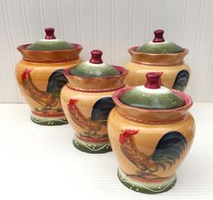 Tuscan Sunshine County Rooster Hand Painted Canisters, Set of 4, 89301 by ACK