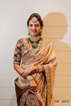 Brown Silk Wedding Saree with embroidered saree blouse. Sabyasachi Sarees, Anarkali, Bollywood Saree, Indian Sarees, Lehenga, South Indian Bride, Indian Bridal, Goa, Stylish Sarees
