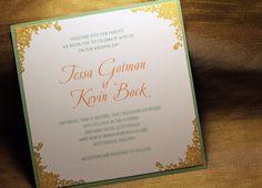 Gold and Mint Secret Garden Wedding Invitation Set, Shimmer Gold, Floral Edge Invite, Vintage Chic Wedding