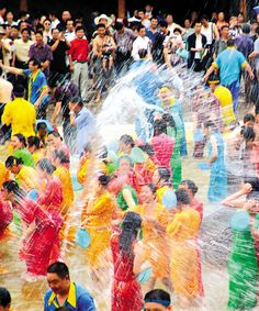 Songkran Festival, Thailand - 13 April -water Festival - The world's largest water fight!