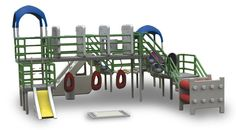 A modular jungle gym meant for autistic children. Every element is designed to treat a specific problem that autistic kids face--for example, providing sleeves where the kids can wrap themselves up, thus offering a controlled way of getting used to touch and pressure; and various obstacles designed to strengthen the muscles that are usually weak in autism sufferers. The individual elements can be bought piecemeal, and used at home: