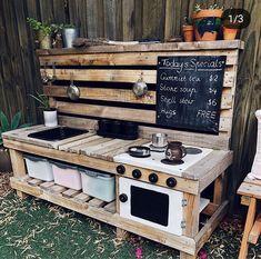 Outdoor Play Kitchen, Diy Mud Kitchen, Mud Kitchen For Kids, Smeg Kitchen, Kitchen Decor, Kitchen Tile, Kitchen Islands, Kitchen Layout, Kitchen Furniture