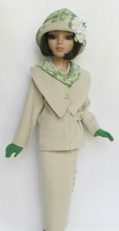 Ellowyne, OOAK Lady Amber's Summer Suitable (1920s), unlined Jacket, lined Skirt & Blouse, Cloche Hat, Necklace and Gloves, made by ssdesigns | via eBay SOLD 5/26/13 15bids $539.99