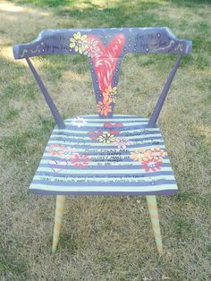 I received this hand-painted chair as a graduation present. My aunt rescued it and covered it in special and inspiring quotes! Something I will use and treasure forever!