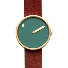 Green & Oxblood PICTO Leather Watch featuring polyvore, women's fashion, jewelry, watches, leather wrist watch, rosendahl watches, dial watches, green dial watches and polka dot watches