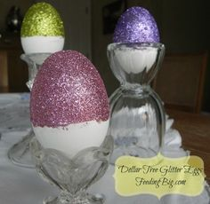 Dollar Tree Glitter Eggs. You can easily create glitter eggs with items from the Dollar Tree. These beautiful eggs won't take much time or break the bank.