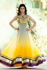 Yellow Net Anarkali Suit with Embroidered and Lace Work
