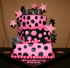 Pink and black cake by KB Cakes