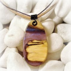 Equilart's product - Violet II - wood and resin pendant - Equilart - art and craft marketplace