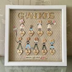 Family Grandchildren Friends Button Box Frame Large