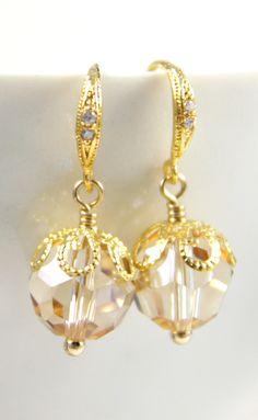 Eugenia Golden Shadow Crystal Earrings