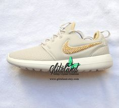 3487c8ebd766 Swarovski Nike Light Bone Metallic Gold Roshe Two Casual Shoes Made with