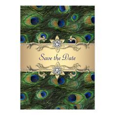 Elegant Peacock Wedding Save The Date Invite with matching gold #Peacockwedding #invitations from http://www.zazzle.com/elegant_peacock_wedding_save_the_date_invite-161481518275406162?rf=238505586582342524