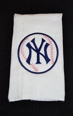 Custom Embroidered New York Yankees Baby Burp Cloth. $12.50, via Etsy.