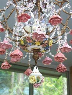 Vintage chandelier with roses Antique Chandelier, Chandelier Shades, Antique Lamps, Modern Chandelier, Chandelier Lighting, Chandeliers, Chandelier Crystals, Floral Chandelier, Porcelain Dolls For Sale
