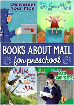 Pre-K books to read. Post office and mail Pre-K and Kindergarten books. A book list featuring mail carriers and post office for preschool, pre-k, and kindergarten classrooms; books for a community helpers or post office theme Kindergarten Books, Preschool Literacy, Preschool Books, Preschool Themes, Preschool Lessons, Literacy Activities, Preschool Teachers, Educational Activities, Toddler Books