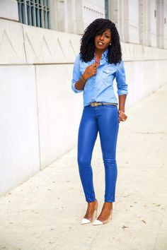 Style Pantry | Chambray Shirt + Faux Leather Pants