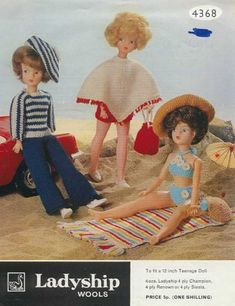Doll Knitting Pattern Clothes for Teenage Doll Vintage. Trousers and Jacket Doll Knitting Pattern Doll's outfit patterns including poncho, bikini and french berets, striped top and trousers. Vintage knitting patterns for coats. Barbie Knitting Patterns, Knitting Dolls Clothes, Barbie Clothes Patterns, Knitted Dolls, Clothing Patterns, Crochet Clothes, Crochet Patterns, Crochet Hats, Vintage Knitting